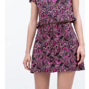 Zara Fuchsia Button Up Mini Skirt
